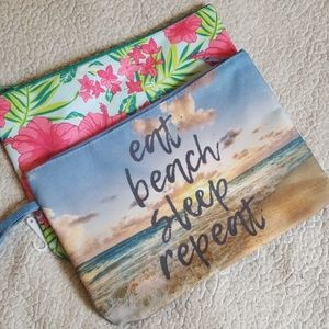 Eat,Beach,Sleep,Repeat. And Floral Print Bags